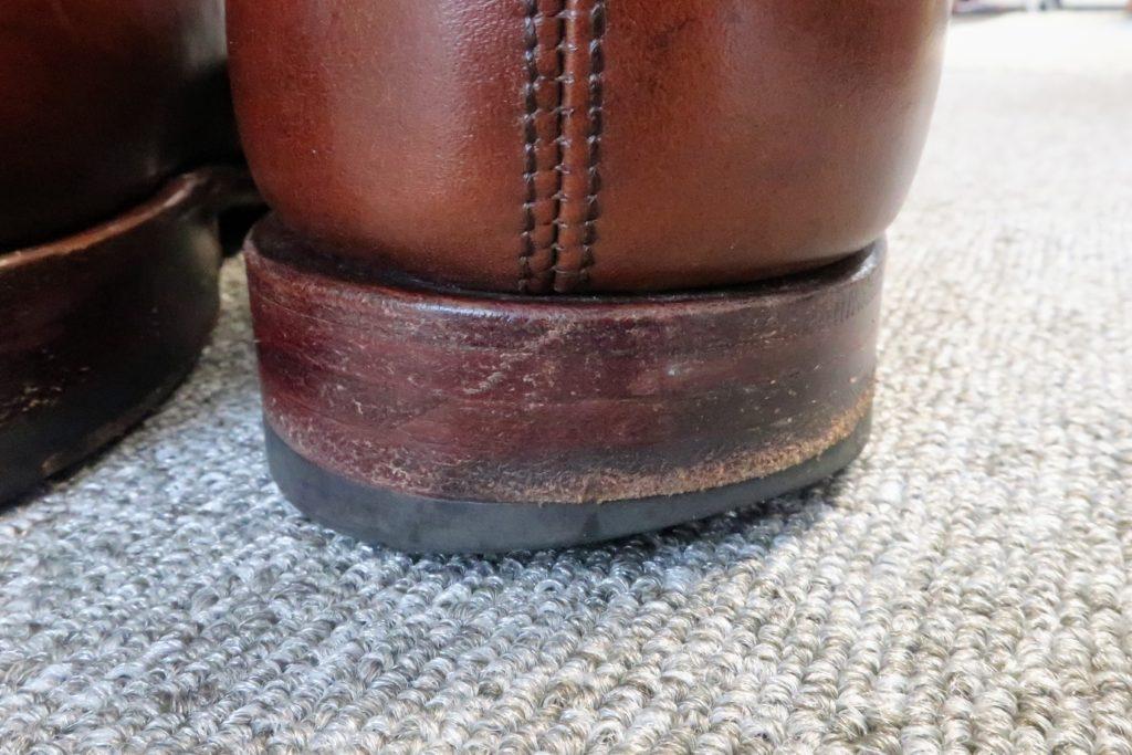 革靴のヒール補修前