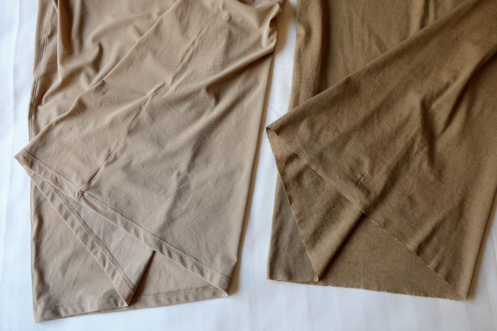 ユニクロとグンゼの脇と裾の比較