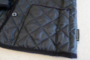 マッキントッシュキルティングコートのフロントポケット